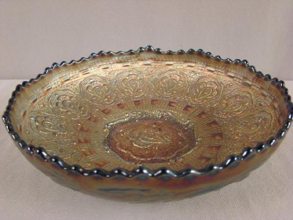 1004: Fenton blue carnival glass Persian medallion bowl
