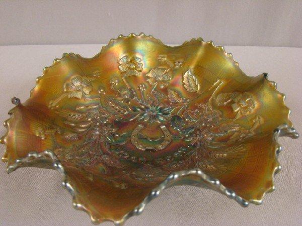 1007: Northwood green carnival glass good luck bowl, 8