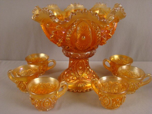1010: Northwood Memphis carnival glass punch bowl with