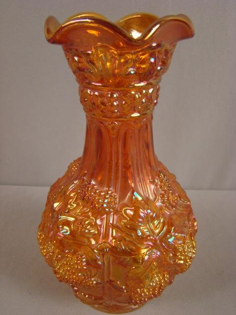 """1012: Imperial carnival glass grape carafe, 10"""", marked"""