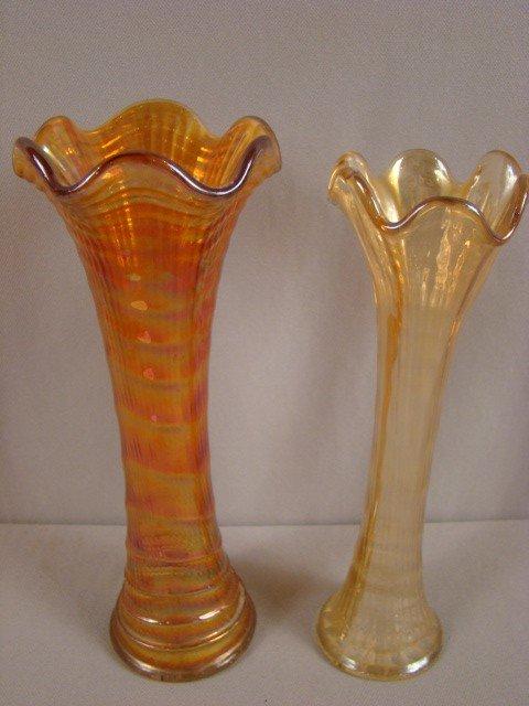 1013: Pair of Imperial marigold carnival glass ripple v