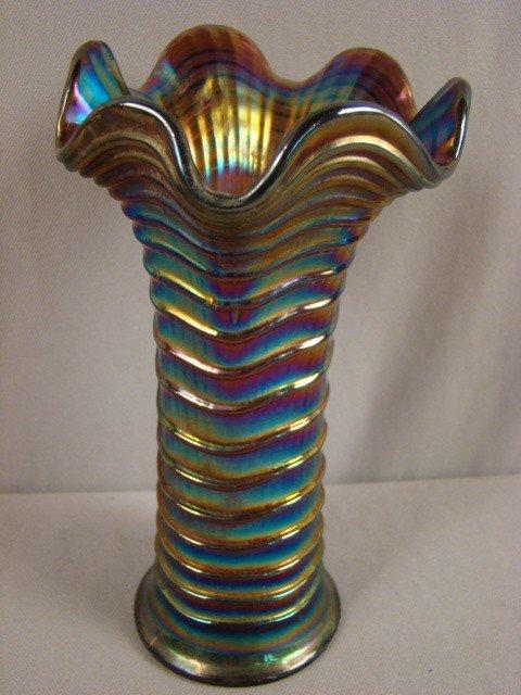 "1016: Amethyst carnival glass vase, 8 1/4"""