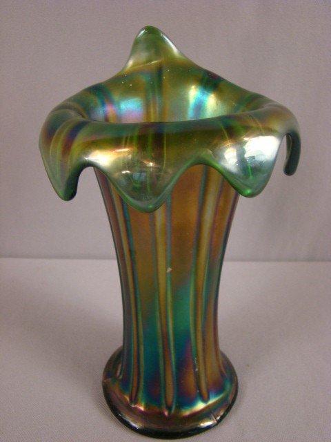 1017: Northwood green carnival glass jester cap jack in