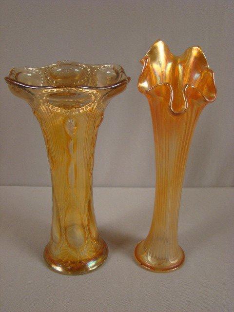 1022: Imperial marigold carnival glass beaded bulls eye
