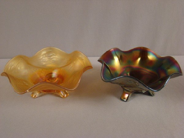 1023: Northwood carnival glass amethyst and marigold pa