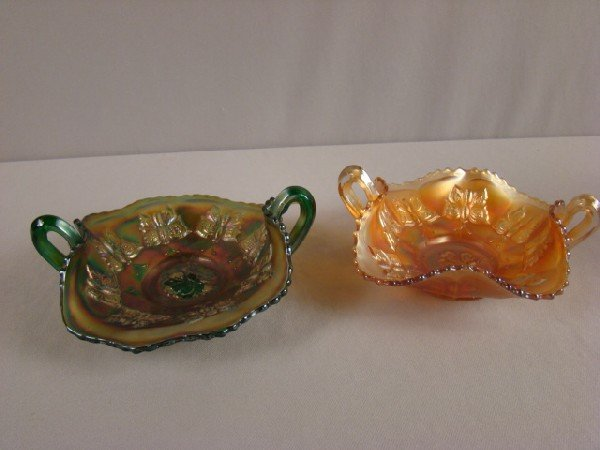 1026: Fenton carnival glass green and marigold pair of