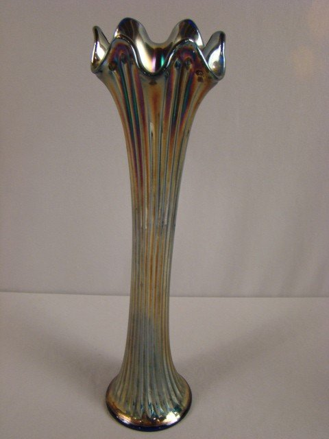 1034: Fenton blue carnival glass thin rib vase, 15""