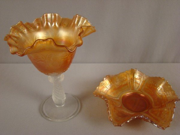 1035: Fenton carival glass marigold sailboat compote an