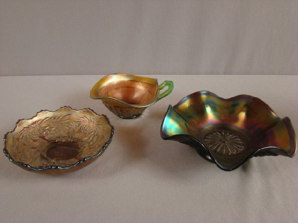 1036: Carnival glass group - Intaglio amethyst bowl, 5
