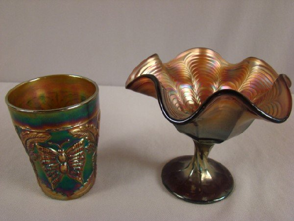 1037: Fenton green carnival glass butterfly & fern tumb