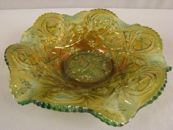 1038: Millersburg green carnival glass holly whirl bowl