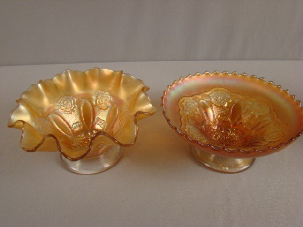 1041: Carnival glass marigold and dome footed ruffled b