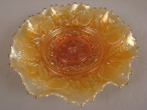 1042: Dugan marigold carnival glass fanciful bowl, 8 1/