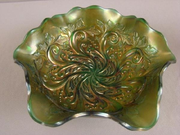 1044: Millersburn green carnival glass seaweed bowl, 10