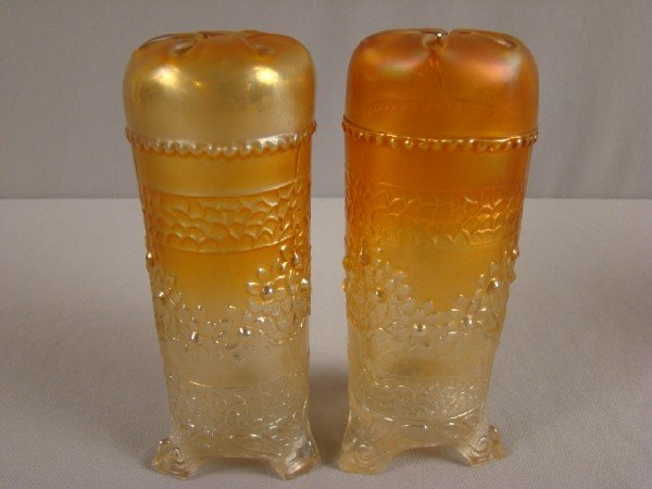 1045: Fenton marigold carnival glass pair of orange tre