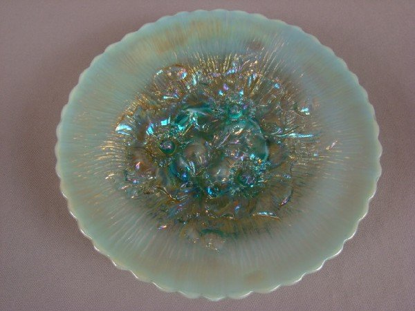 1057: Northwood RARE carnival glass aqua opalescent Pop