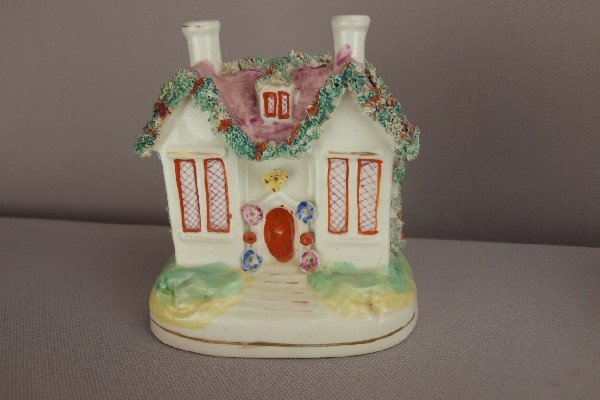 """4:  Staffordshire cottage bank, 4 1/2"""", repair to under"""