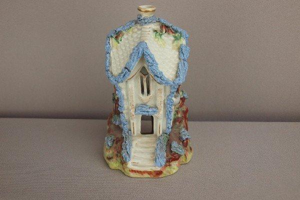 9:  Staffordshire cottage pastille   burner with blue t