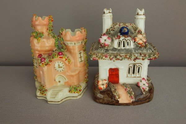 16:  Two Staffordshire cottage   pastille burners, repa