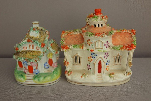 17:  Two Staffordshire cottage   pastille burners, bse