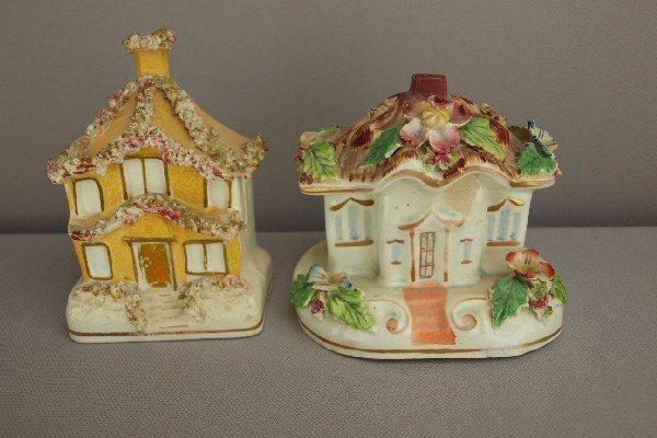 18:  Staffordshire pair of cottage pastille burners, mi