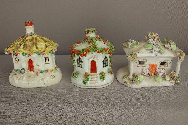 19:  Staffordshire lot of 3 cottage   pastille burners,