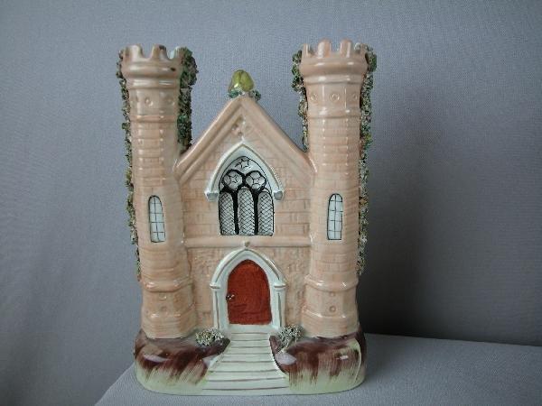 "20:  Staffordshire church spill  vase, 8 1/2"""