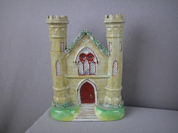 "21:  Staffordshire church spill  vase, 8 1/2"""