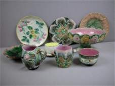 203  ETRUSCAN lot of majolica   daisy comport shell