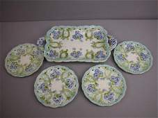 256  Majolica Villeroy and Boch  dessert set with viol
