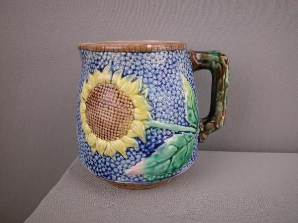 """510:  ETRUSCAN majolica cobalt   sunflower pitcher, 5"""","""