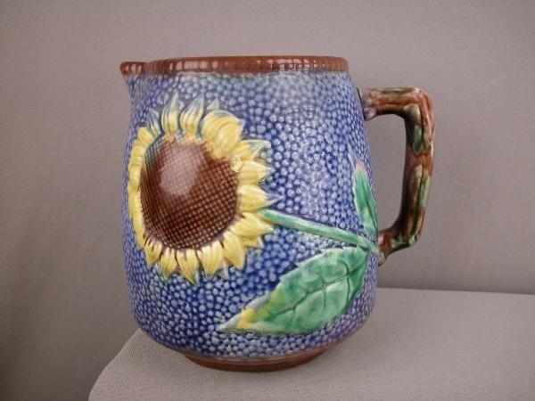 511:  ETRUSCAN cobalt majolica   sunflower pitcher, 7 1