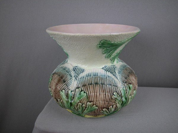 """520:  ETRUSCAN shell and seaweed  spittoon, 6 1/2"""", hai"""