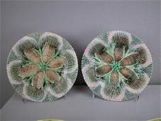 552  ETRUSCAN majolica pair of 8 shell and seaweed pl