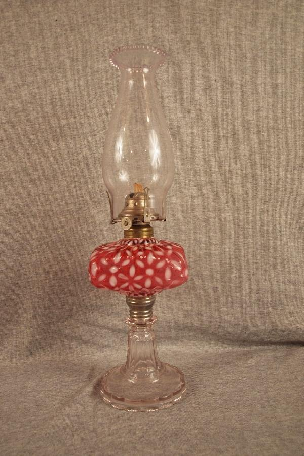 1: Cranberry opalescent snowflake oil lamp