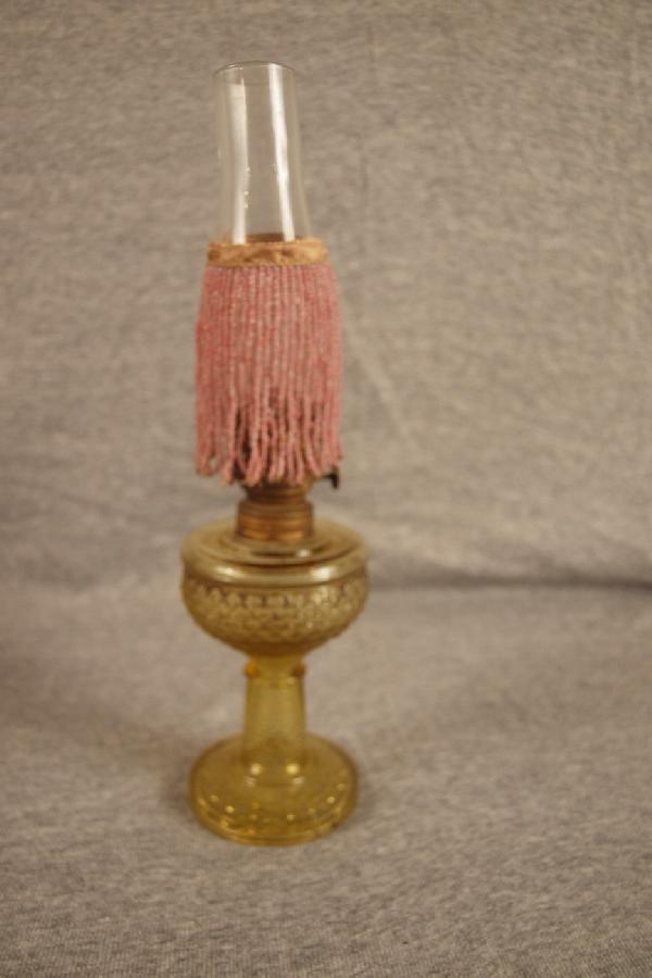 9: Amber fishscale miniature oil lamp, nick to base