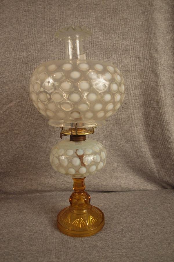 13: Oil lamp with opalescent coin spot font and shade,