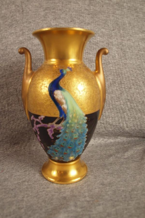 """141: Pickard Bavarian peacock vase, 8"""""""