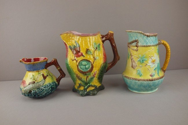 1: Lot of 3 majolica pitchers, various condition, nice