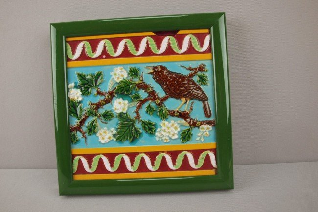 "6: GEORGE JONES 8"" majolica tile with bird, framed, chi"