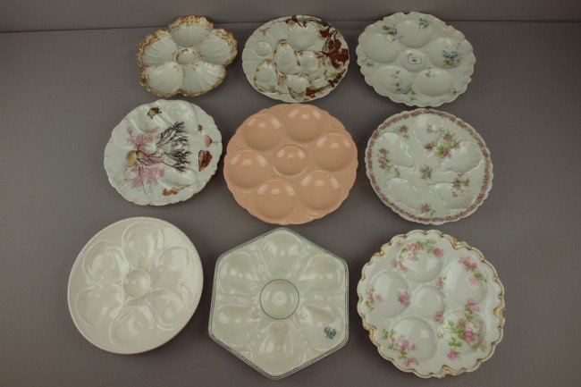 10: Lot of 9 assorted porcelain oyster plates, various