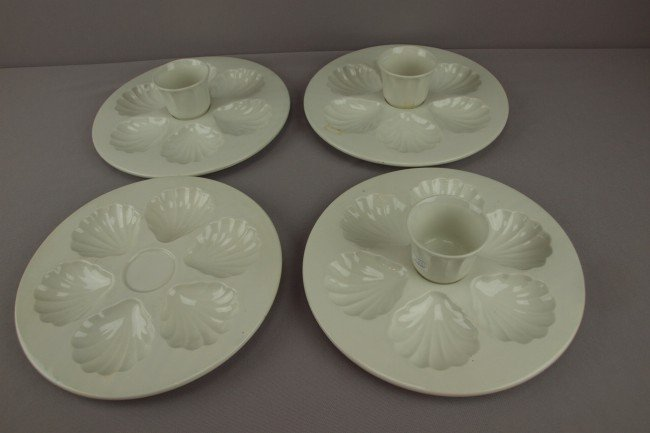 11: Set of 4 French Gien white  stoneware 6 well oyster