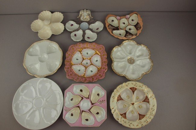 12: Lot of 9 assorted porcelain oyster plates, various