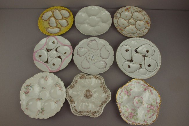 13: Lot of 9 assorted porcelain oyster plates, various