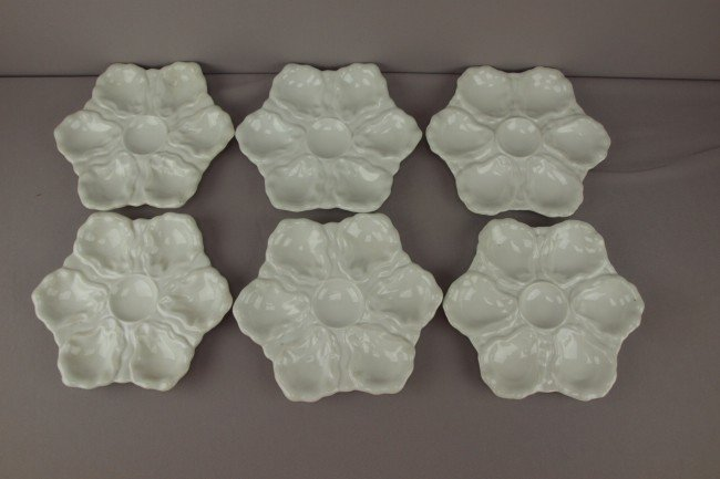 14: Set of 6 white porcelain 6  well oyster plates, 9""