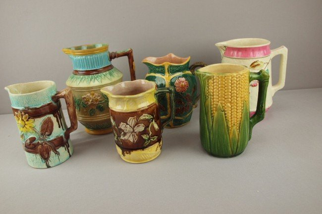 "21: Majolica lot of 6 pitchers, 7 1/2"" ave., various co"