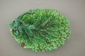 HUGU LONITZ Palissy Style Leaf Tray With Lizard An