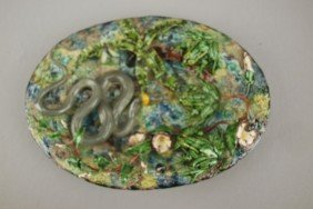 GEOFFREY LUFF Contemporary  Majolica Oval Plaque W
