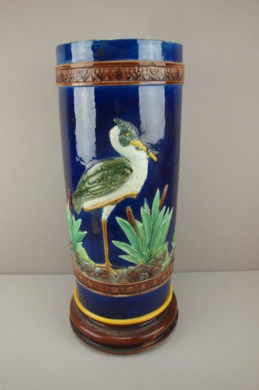 784: HOLDCROFT majolica stork in marsh umbrella stand,