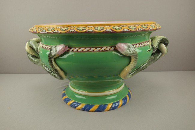 789: MINTON majolica jardiniere  with snake handles and